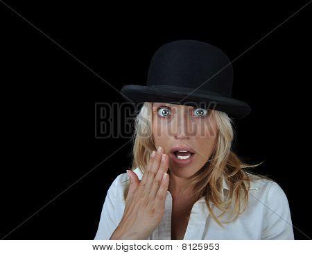 Beautiful Surprised Blonde Woman Wearing A Hat.