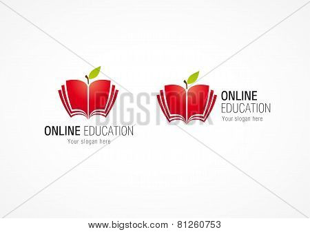 Educational vector logo. Open book in apple shape. Internet school sign. E book, e reader branding computers soft settings or smartphone application icon. Online magazine. Living tree of knowledge.