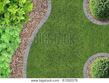 lawn, bark compost, plants