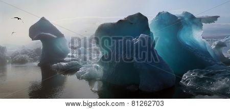 Iceberg in the glacier lagoon