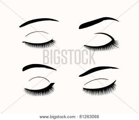 Set of black close eyes. Vector eyelashes and eyebrows silhouettes poster