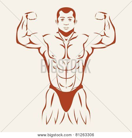 Bodybuilding and Powerlifting. Bodybuilder standing hands up, straining every muscle in the body. Vector illustration poster