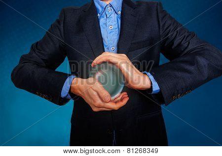 Businessman predict the future. business fortune telling.
