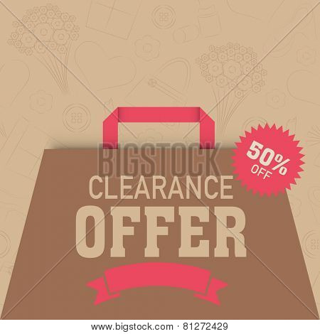 International Women's Day celebration sale and discount clearance offer with shopping bag. poster