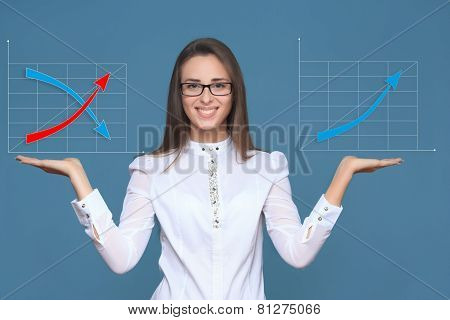 woman pointing her finger on imaginery button