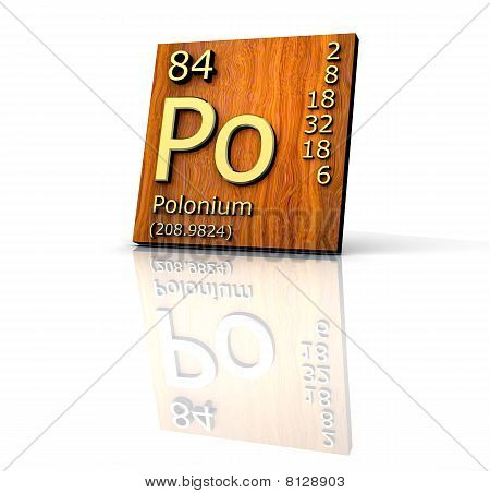 Polonium Form Periodic Table Of Elements - Wood Board