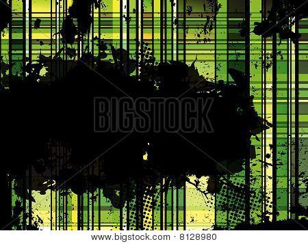 Checkered Green Grunge Background.