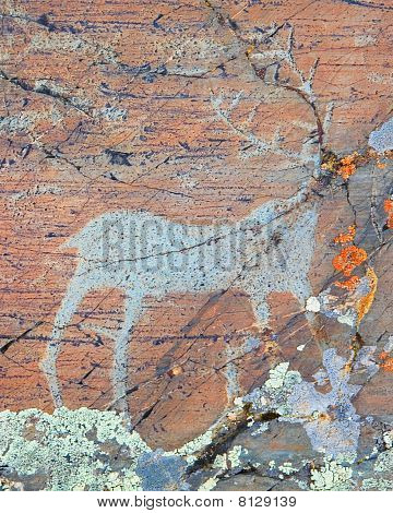 The ancient drawings on rocks Altai. The so-called Pazyryk culture. Stone Age. 1000 BC poster