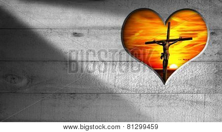 I Love Jesus - Crucifixion At Sunset