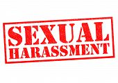 SEXUAL HARASSMENT red Rubber Stamp over a white background. poster