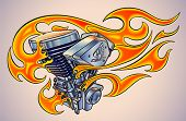 Old-school styled tattoo of a flaming motorcycle engine. Editable vector illustration. poster