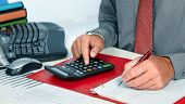Hands of accountant business man with calculator. Accounting poster