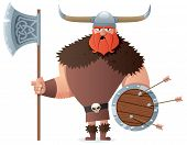 Cartoon Viking over white background. No transparency used. Basic (linear) gradients used. poster
