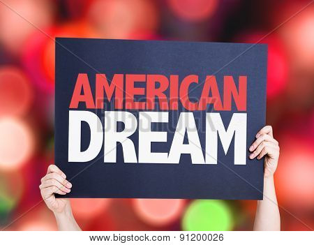 American Dream card with bokeh background