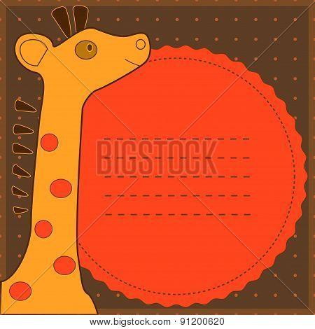 baby shower with cute giraffe. Cute childish card.