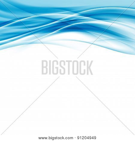 Contemporary Abstract Blue Wave Border Hi-tech