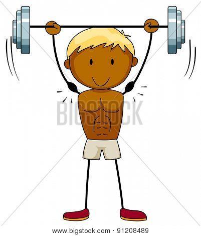 Closeup muscular man lifting weights