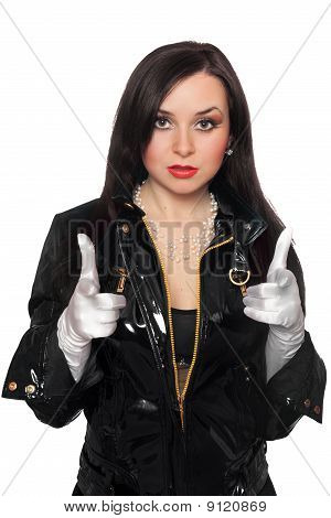 Young Woman In Black Jacket