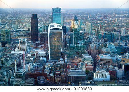 LONDON, UK - APRIL 15, 2015: City of London panorama atsunset.