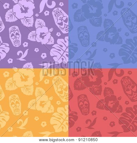 Hawaiian aloha shirt seamless backgrounds set