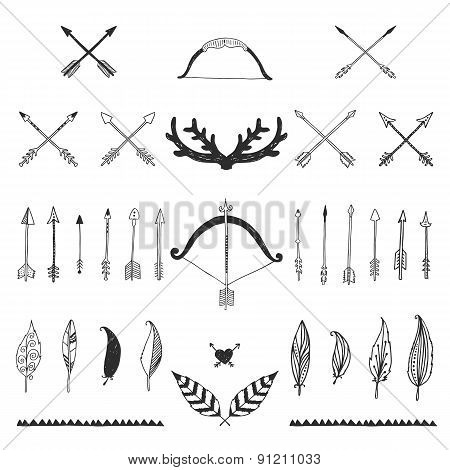 Hand drawn tribal collection with bow and arrows, feathers and h