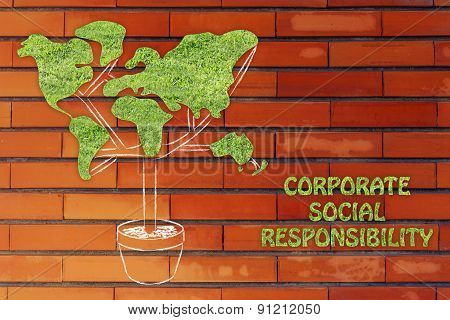 Tree With World Map Shaped Foliage, Concept Of Ecology And Corporate Social Responsibility