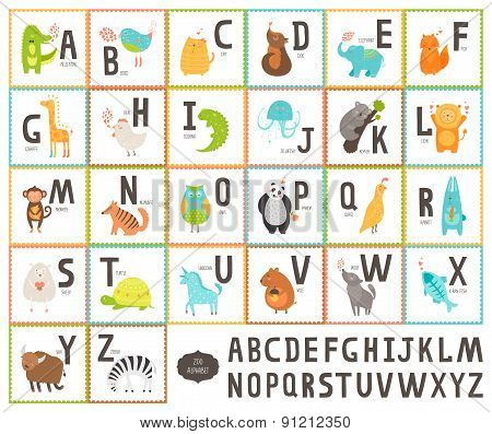 Cute vector zoo alphabet with cartoon animals