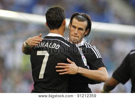 BARCELONA - MAY, 17: Cristiano Ronaldo and Gareth Bale of Real Madrid during a Spanish League match against RCD Espanyol at the Power8 stadium on Maig 17 2015 in Barcelona Spain