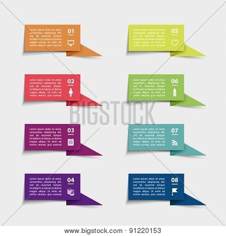 Vector paper flag stickers and labels with realistic shadows for infographic set.