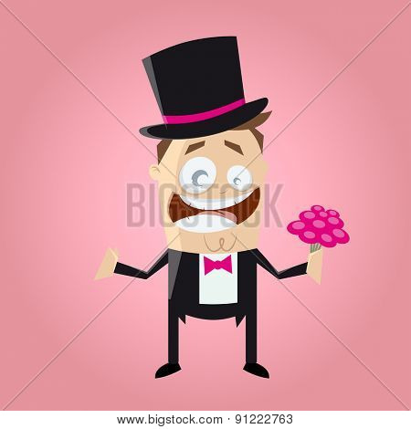 funny cartoon bridegroom with bouquet of flowers