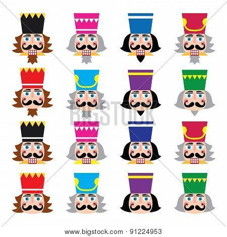 Christmas nutcracker - soldier figurine head icons set
