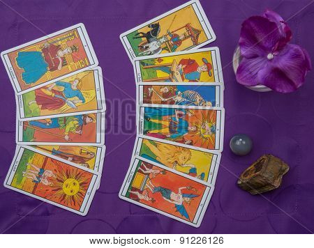 Tarot Cards And Stones  Under Nice Purple Background