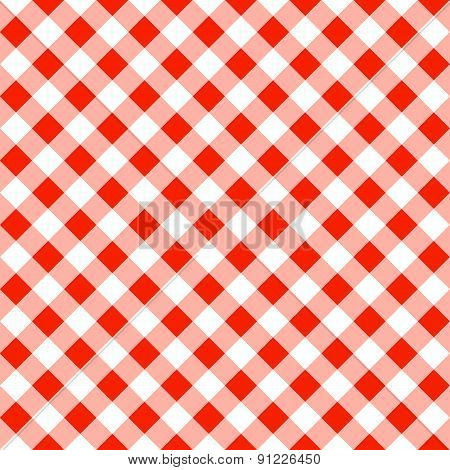 Seamless Pattern Of A Red White Plaid Tablecloth