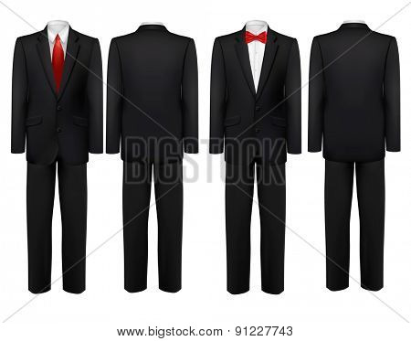 Black suit and white shirt with butterfly and tie. Vector.