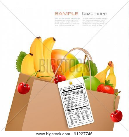 Shopping bag with healthy fruit and a nutrient label. Vector.