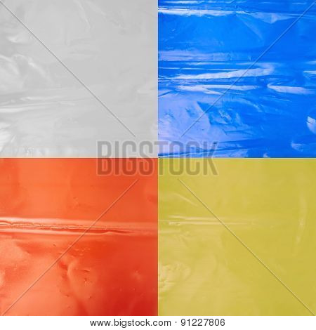 Creased colored plastic polyethylene film texture, set of four images poster