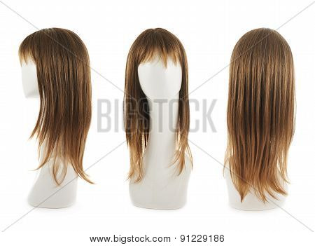 Open wave hair wig over the white plastic mannequin head isolated over the white background, set of three foreshortenings poster