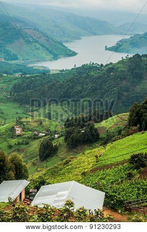 Lake Bunyonyi Viewed From Up High.