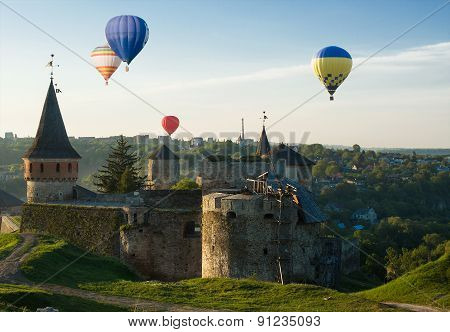 Hot Baloons Fly Above Medieval Castle