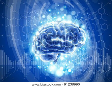 brain, blue technology concept. vector illustration. eps10