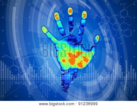 technology background. thermal hand print, blue technology background, chemical formulas and digital wave