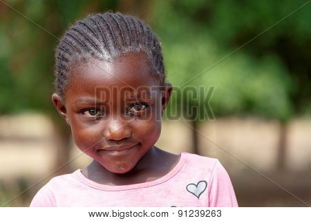 Closeup Portrait Of Small Namibian Child Girl