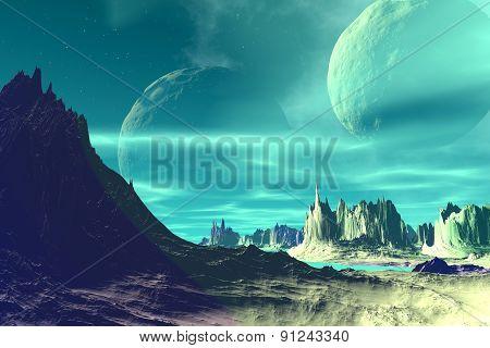 Rocks and  moon