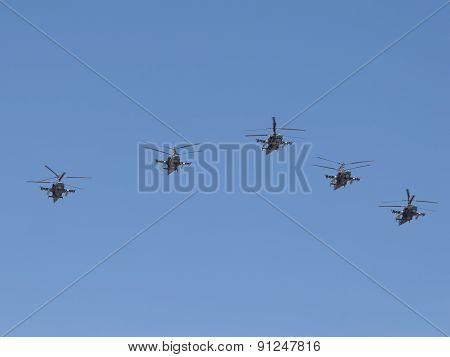Military Helicopters Ka-52 Formation Flying