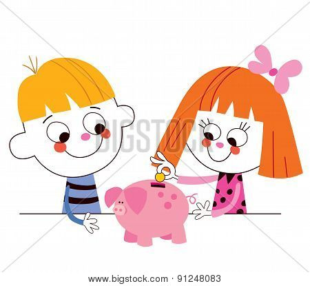 little boy and girl with piggy bank Children's savings