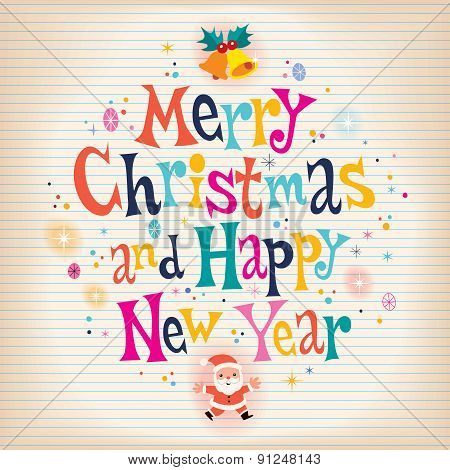 Merry Christmas and Happy New Year aged paper retro greeting card