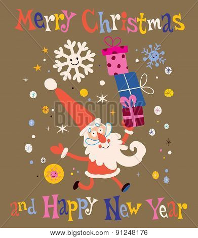 Merry Christmas and Happy New Year Santa Claus Greeting card