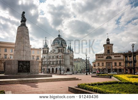 Lodz, Liberty Square And Tadeusz Kosciuszko Statue