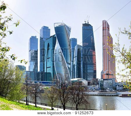Moscow-city business center Moscow Russia. Big office complex near Moscow-river. poster