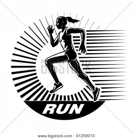 Running woman. Vector illustration in the engraving style